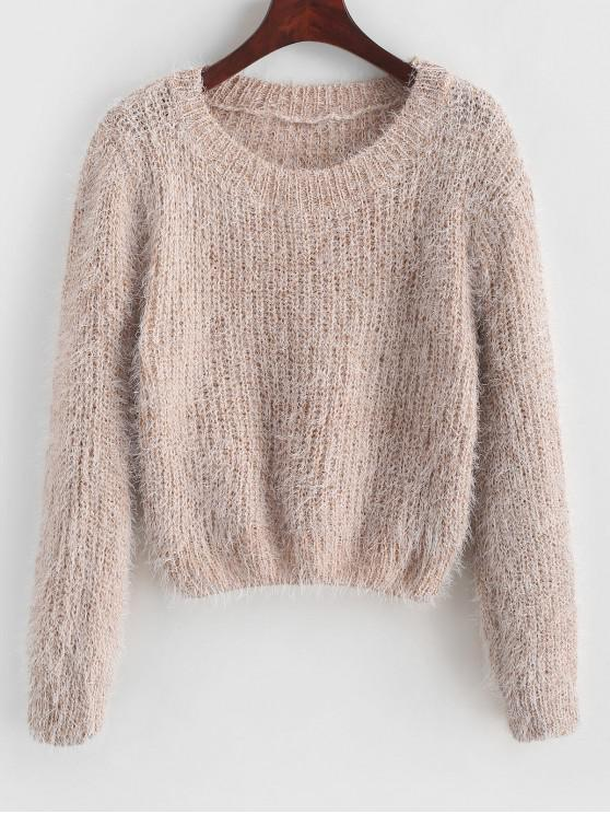 buy Pullover Fuzzy Heathered Sweater - APRICOT ONE SIZE