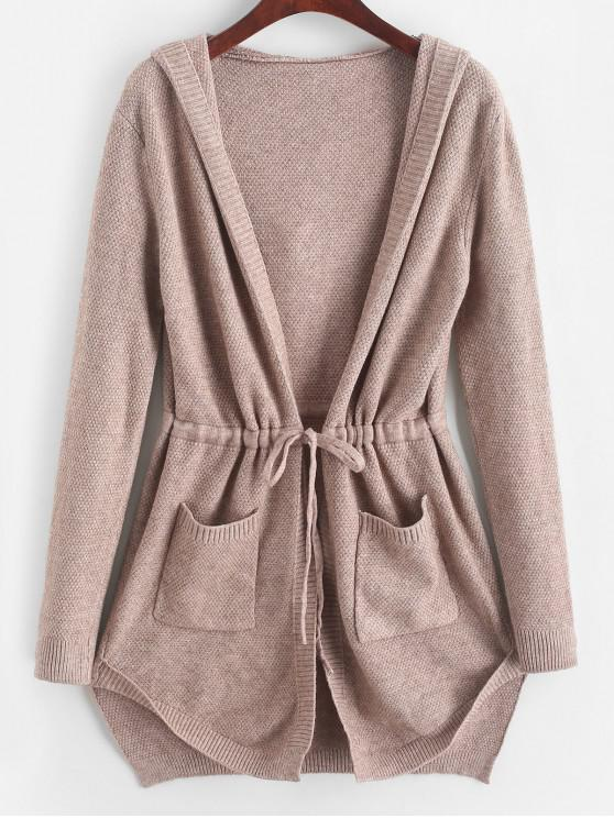 outfit Longline Hooded Drawstring Pockets Cardigan - KHAKI ONE SIZE