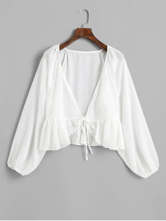 ladies Raglan Sleeve Tie Front Peplum Cover Up Top - WHITE ONE SIZE