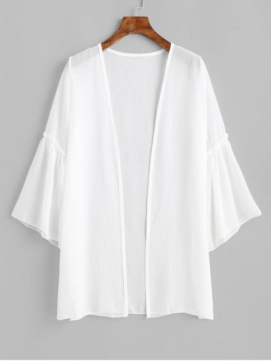 shop Flare Sleeve Open Front Longline Cover Up - WHITE ONE SIZE