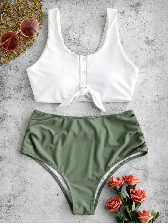 outfits ZAFUL Knot Snap Button Ruched Tankini Swimsuit - WHITE XL