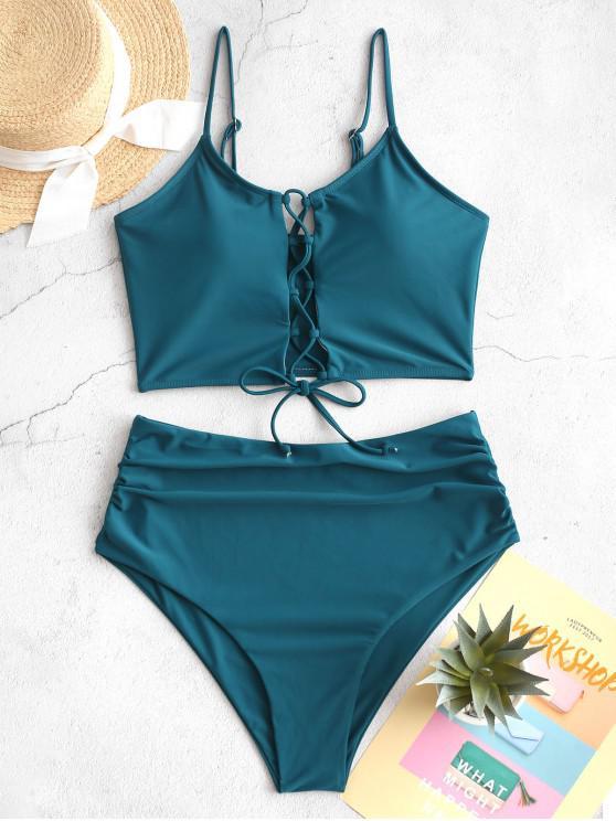 trendy ZAFUL Lace Up Padded Tummy Control Tankini Swimwear - PEACOCK BLUE M