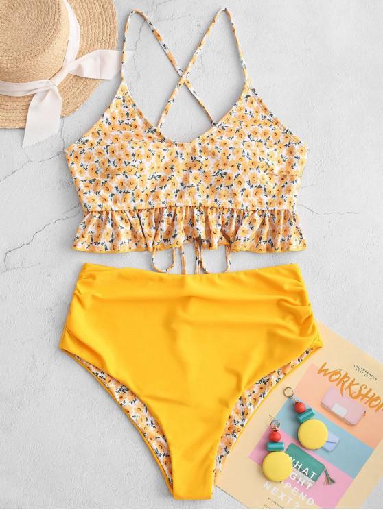 ladies ZAFUL Reversible Ditsy Print Lace Up Ruffle Tankini Swimsuit - GOLDENROD L