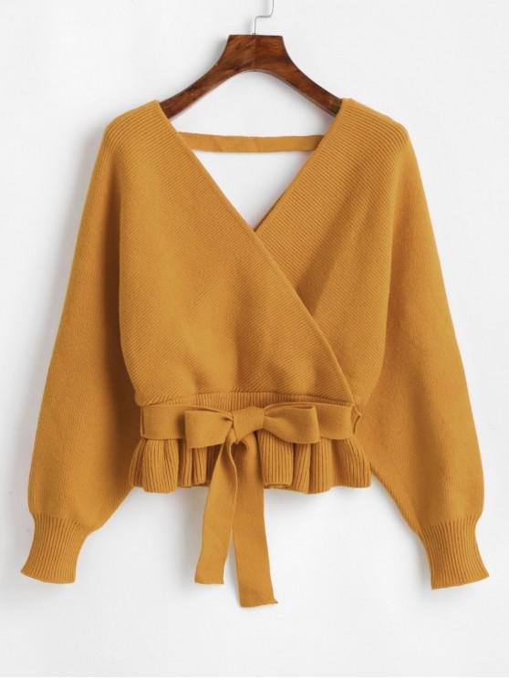 best Plunging Batwing Sleeve Peplum Belted Sweater - GOLDEN BROWN ONE SIZE