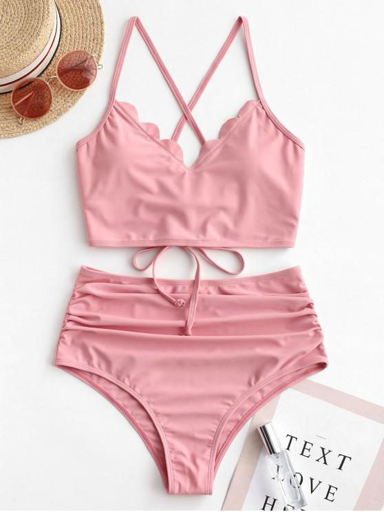 hot ZAFUL Scalloped Lace-up Ruched Tankini Swimsuit - ROSE L