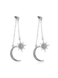Moon Star Rhinestone Tassel Earrings - Silver