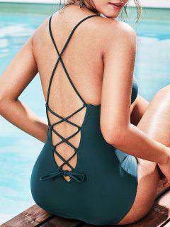 ZAFUL Lace Up Acolchoado Swimsuit De Uma Peça - Azul Pavão S