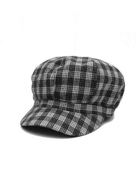 affordable Plaid Print Retro Octagonal Cap - DARK GRAY  Mobile