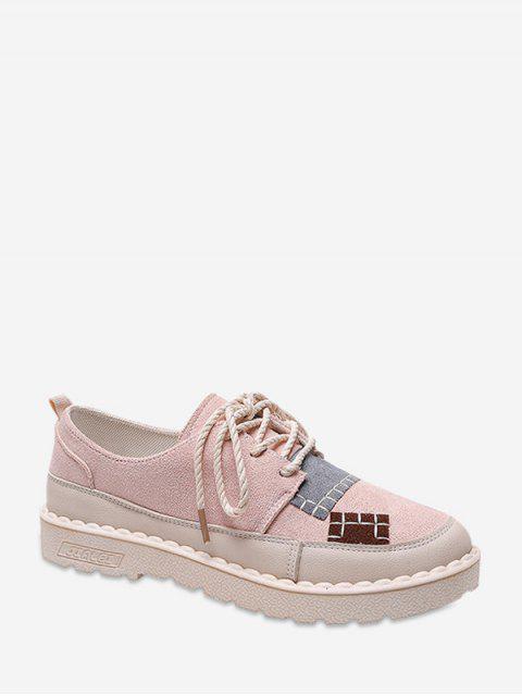 chic Color Block Patch Low Heel Shoes - PINK EU 36 Mobile