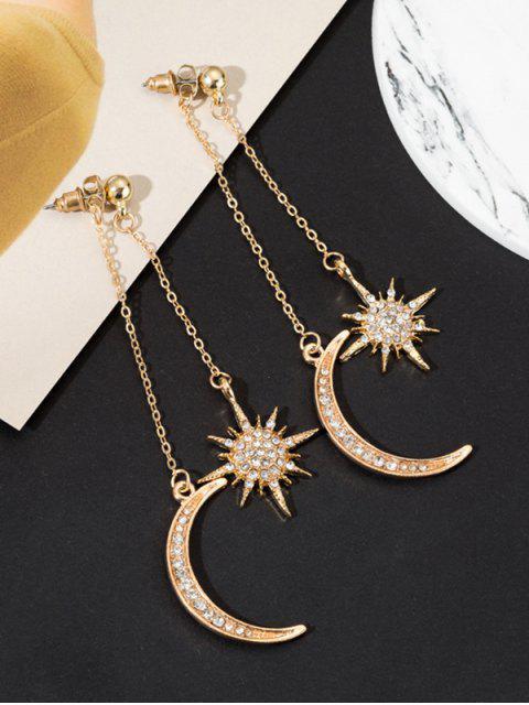 Boucles d'Oreilles Lune Etoile avec Strass à Frange - Or  Mobile