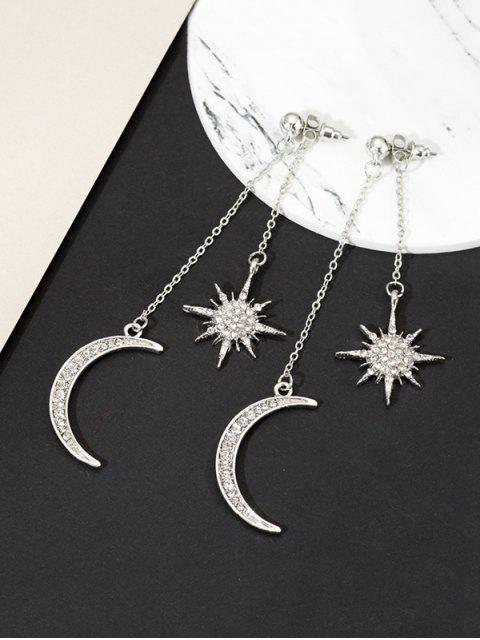 Pendientes de La Borla de Diamantes de Imitación de La Estrella de La Luna - Plata  Mobile