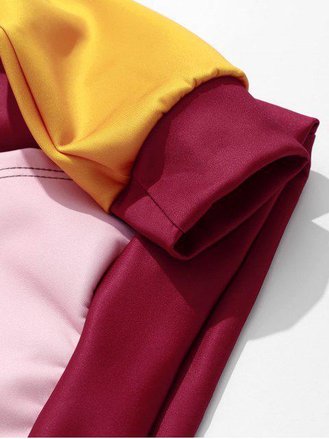 拼色剪裁和縫袋鼠口袋連帽衫 - 耐火磚 XL Mobile