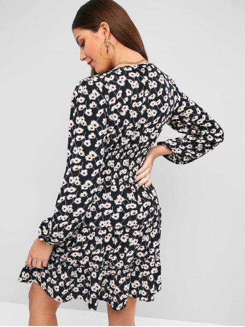 ZAFUL荷葉邊褶皺腰部印花連衣裙 - 黑色 XL Mobile