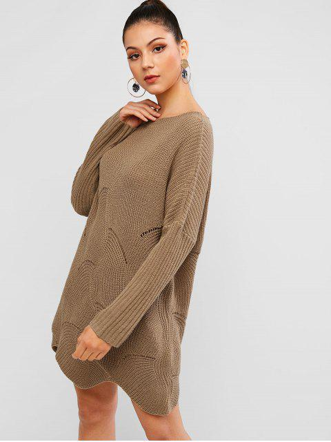 affordable Pointelle Knit Wave Hem Solid Sweater Dress - WOOD L Mobile