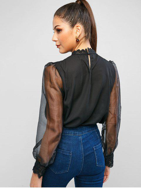 fancy Gauze See Through Mock Neck Blouse - BLACK S Mobile