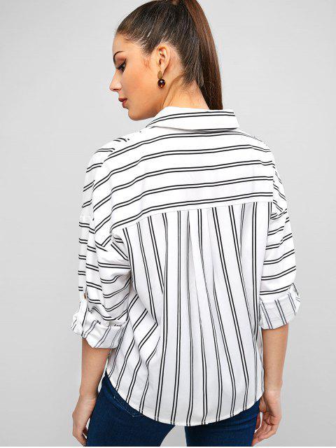 Camisa de manga asimétrica con hombros descubiertos y manga enrollada - Blanco L Mobile
