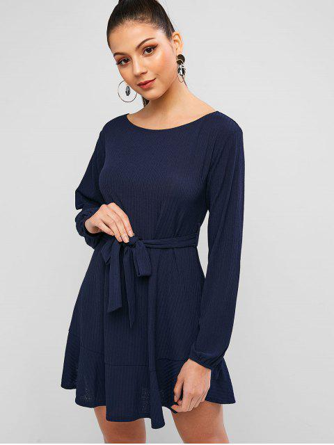 lady ZAFUL Textured Flounce Tunic Dress - DEEP BLUE S Mobile