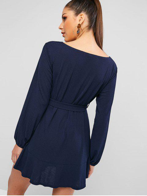 ZAFUL Robe Tunique Texturé à Volants - Bleu profond M Mobile