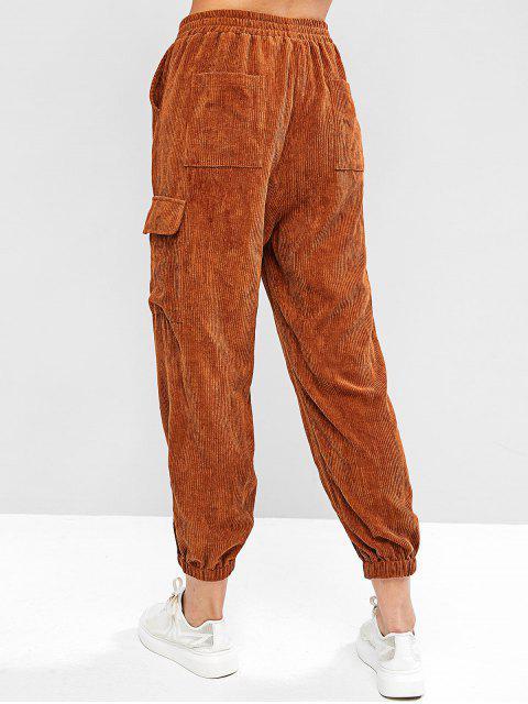 Pantalones de chándal de bolsillo de cintura media de pana ZAFUL - Madera L Mobile