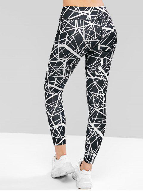 buy Topstitching Skinny Geometric Leggings - BLACK M Mobile