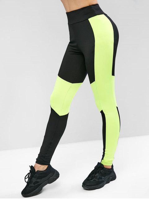 best ZAFUL Neon Color Block Workout Leggings - BLACK M Mobile