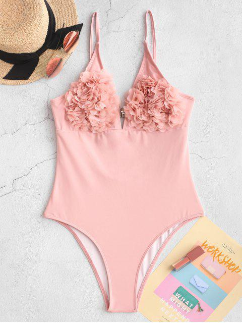 shops ZAFUL Petal Backless High Cut Bralette One-piece Swimsuit - ROSE L Mobile