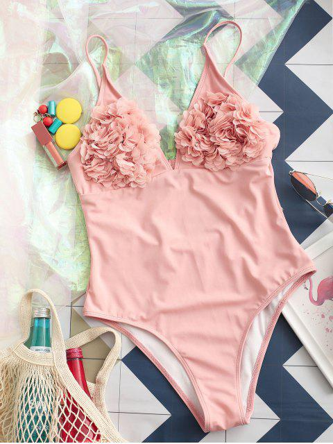 latest ZAFUL Petal Backless High Cut Bralette One-piece Swimsuit - ROSE XL Mobile