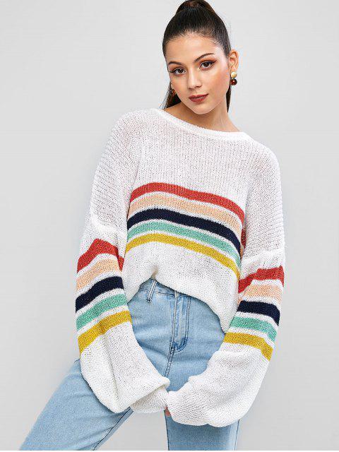 fashion ZAFUL Colorful Striped Drop Shoulder Loose Jumper Sweater - MULTI L Mobile