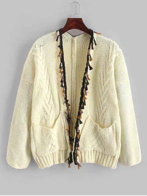 shop Pockets Open Front Tassels Cardigan - WARM WHITE ONE SIZE Mobile