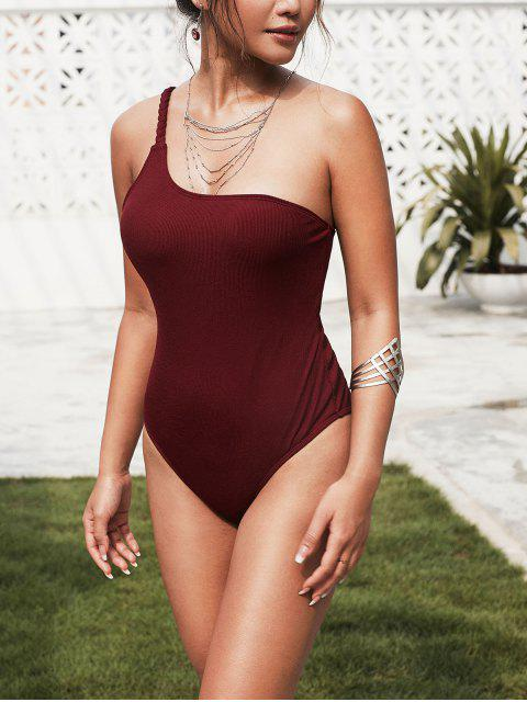 outfit ZAFUL Ribbed Braided One Shoulder One-piece Swimsuit - RED WINE M Mobile
