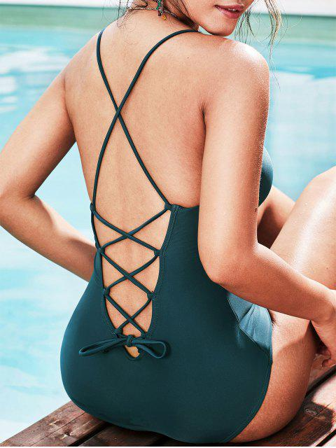hot ZAFUL Lace Up Padded One-piece Swimsuit - PEACOCK BLUE S Mobile