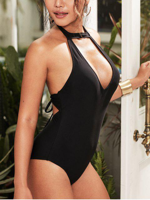 chic ZAFUL Tie Cutout Halter One-piece Swimsuit - BLACK S Mobile