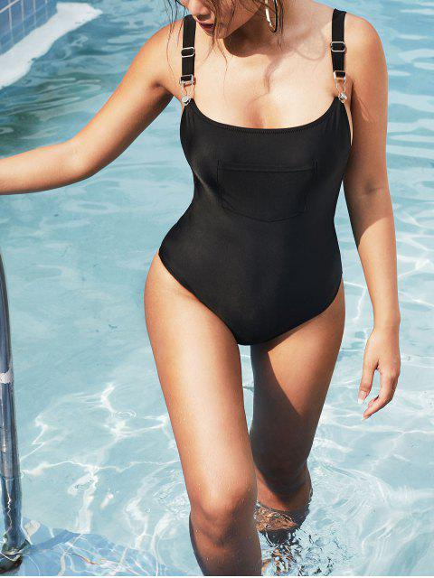 fancy ZAFUL Suspender Buckle Front Pocket Drop Armhole One-piece Swimsuit - BLACK M Mobile