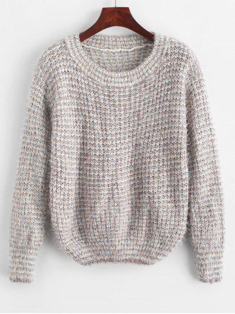 outfit Fuzzy Metallic Thread Heathered Sweater - WHITE ONE SIZE Mobile