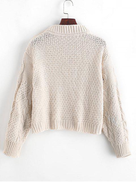 寬鬆鈕扣式針織開衫 - 白色 One Size Mobile