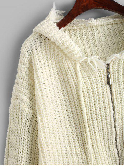 buy Hooded Zip Up Frayed Chunky Cardigan - WHITE ONE SIZE Mobile