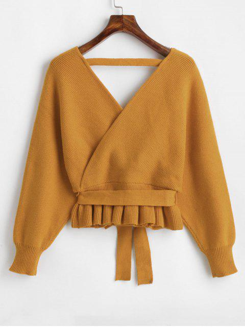 best Plunging Batwing Sleeve Peplum Belted Sweater - GOLDEN BROWN ONE SIZE Mobile