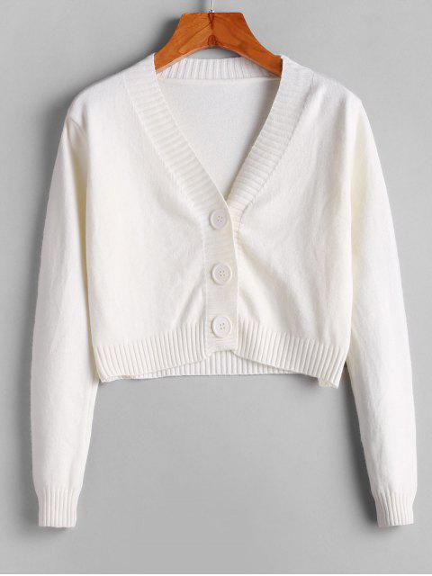 V領鈕扣短款開衫 - 白色 One Size Mobile