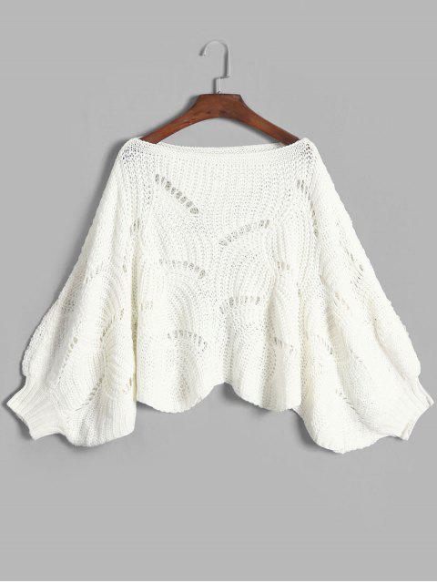 shops Scalloped Hem Pointelle Knit Lantern Sleeve Pullover Sweater - WHITE ONE SIZE Mobile