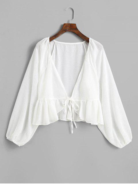 ladies Raglan Sleeve Tie Front Peplum Cover Up Top - WHITE ONE SIZE Mobile