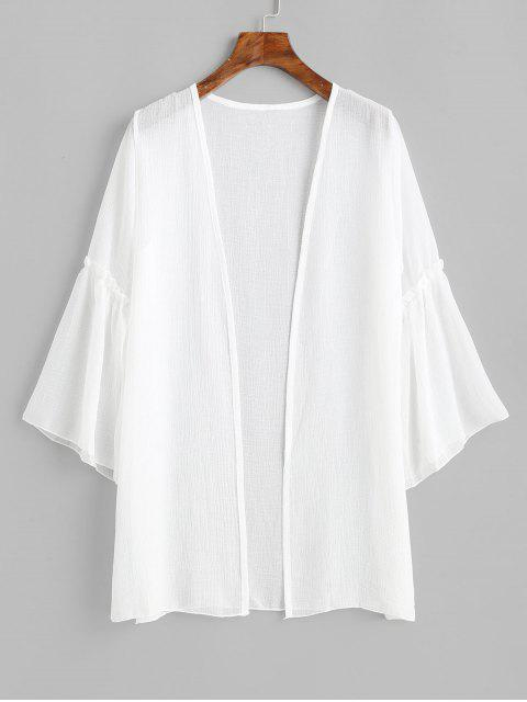 shop Flare Sleeve Open Front Longline Cover Up - WHITE ONE SIZE Mobile