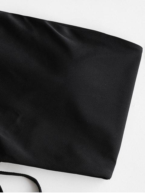 ZAFUL con cordones acanalado Bandeau del traje de baño de Tankini - Negro S Mobile
