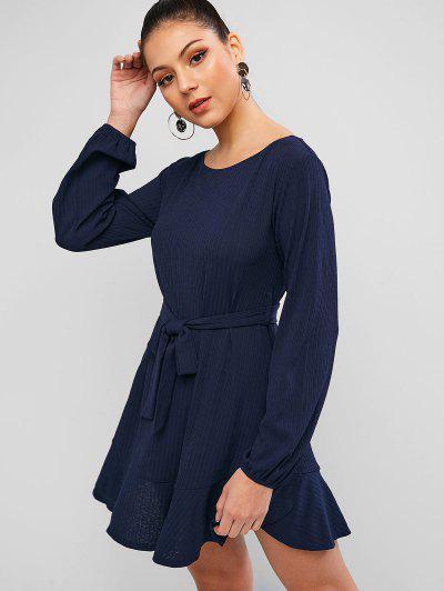 ZAFUL Robe Tunique Texturé à Volants - Bleu Profond M