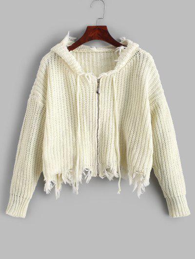 Hooded Zip Up Frayed Chunky Cardigan - White
