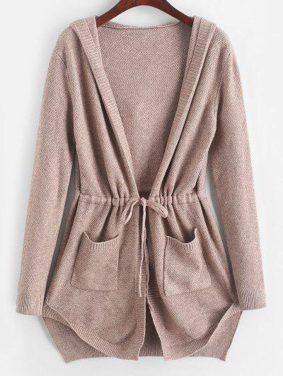 Longline Hooded Drawstring Pockets Cardigan - Khaki