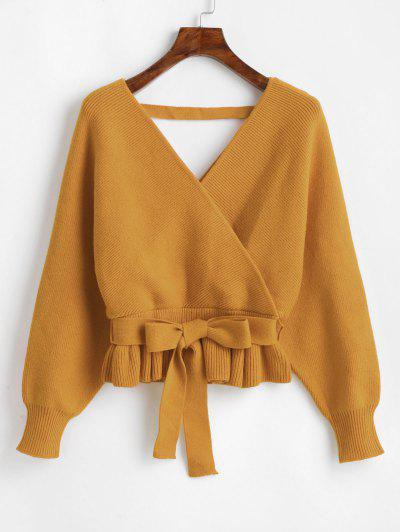 Plunging Batwing Sleeve Peplum Belted Sweater - Golden Brown