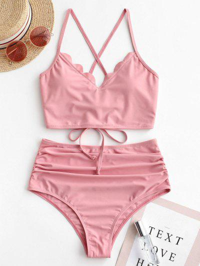 ZAFUL Scalloped Lace-up Ruched Tankini Swimsuit - Rose S
