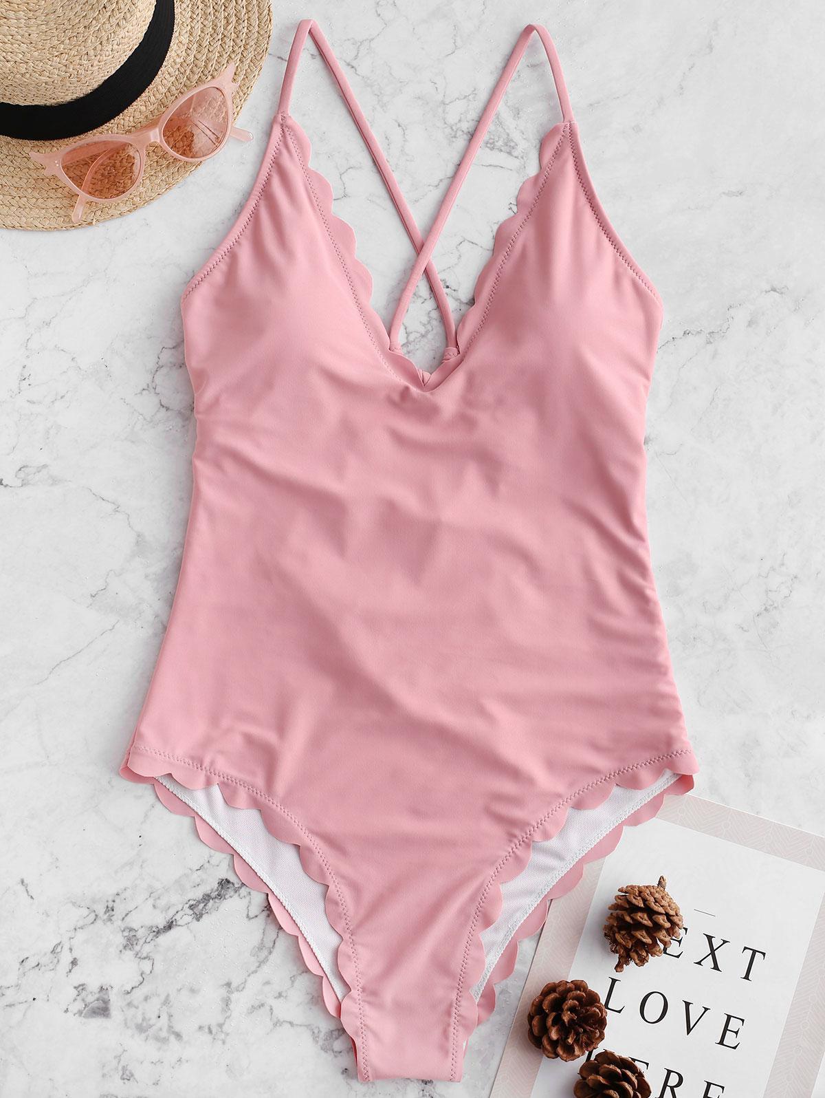 ZAFUL Crisscross Scalloped One-piece Swimsuit, Light pink