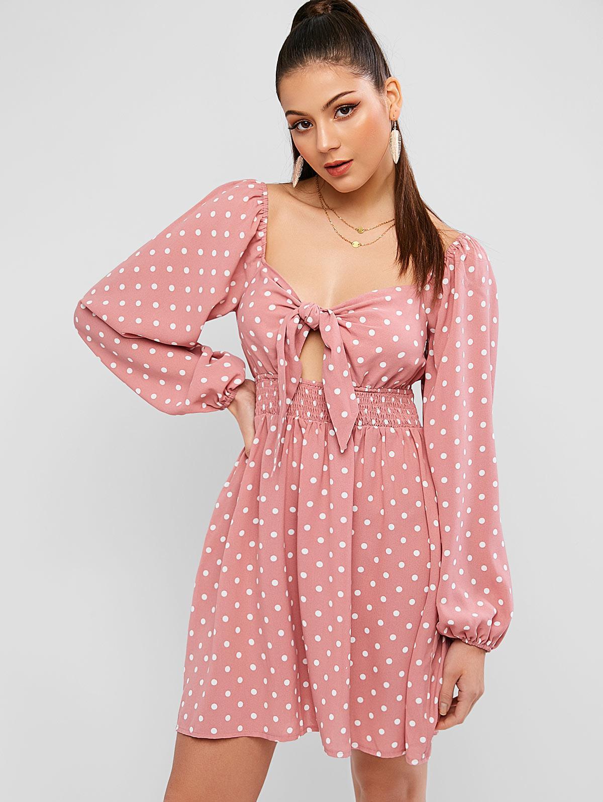 ZAFUL Knot Shirred Waist Polka Dot Milkmaid Dress thumbnail