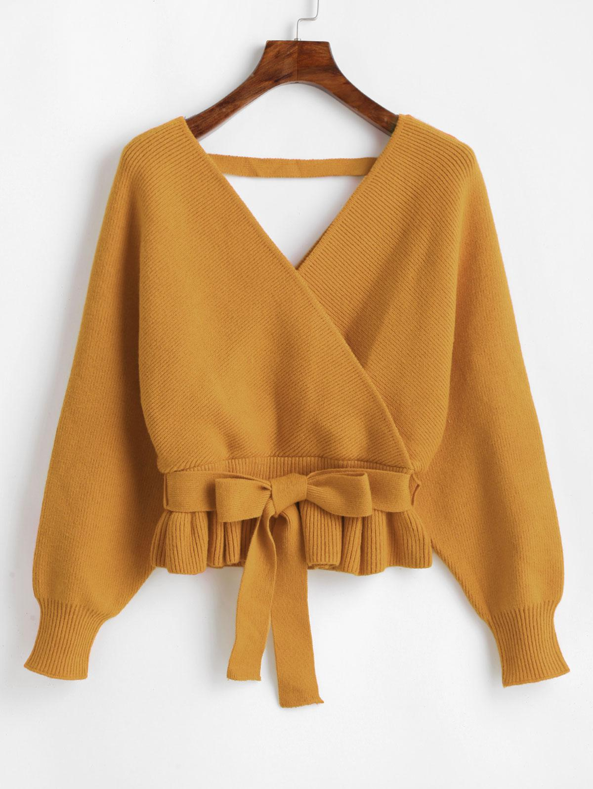 Plunging Batwing Sleeve Peplum Belted Sweater